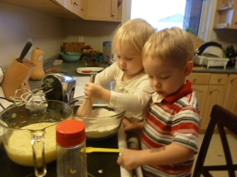 The twins baking with me. I don't enjoy baking with kids, but they LOVE it, so I do it anyway.